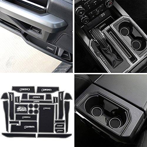 Winunite Cup Mats for Ford F150 SuperCrew 2015/2016/2017 Non-Slip Center Console Mats Door Liner Accessories (Pack of 29)