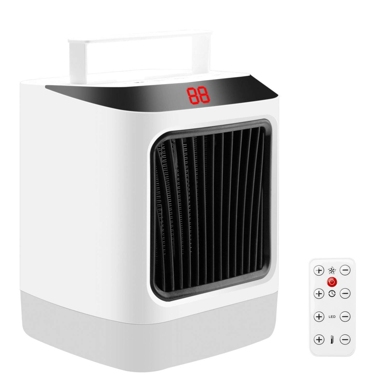 Innens Electric Space Heater, Portable Indoor 800W Desk Small Fast Heating Fan with 7 Color LED Light, Adjustable Thermostat, Timing Setting, Overheat Protection, Remote Control White