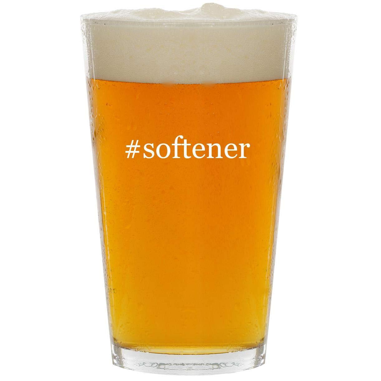 #softener - Glass Hashtag 16oz Beer Pint
