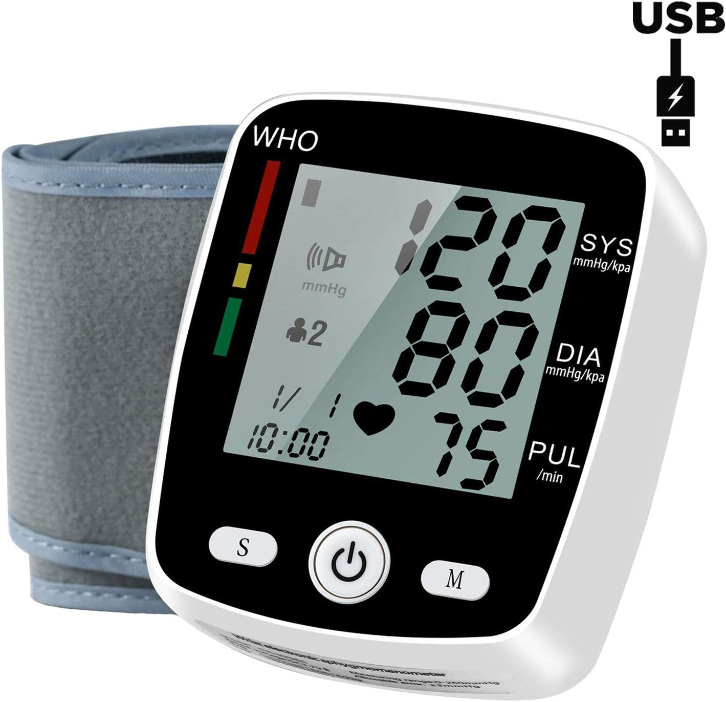 Automatic Wrist Blood Pressure Monitor with USB Charging – Blood Pressure Cuff with LCD Display – BP Monitor, BP Cuff for Detecting Irregular Heartbeat – Includes Intelligent Voice Function