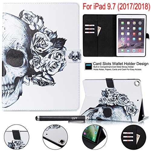 Price comparison product image New iPad 2017 9.7 Case,  Newshine [Multi-Angle Viewing] Stand Cover Auto Sleep / Wake Folio Case for New Apple iPad 9.7 inch 2017 Release,  Also Fit iPad Air 2 2014 Release - Skeleton Flower