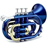 Sky Band Approved Brass Bb Pocket Trumpet with Case, Cloth, Gloves and Valve Oil, Guarantee Top Quality Sound, Gold (Blue)