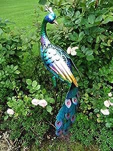 Figura de pavo real pájaro decorativo 90cm Estanque Figura Figura de metal jardín decoración Estanque pescado Estanque