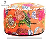 Hippie Gypsy Boho Decor Living Room Cotton Handmade Designer Bean Bags Ethnic Seating Pouf Bohemian Decorative Indian Kantha Floor Pillows & Cushion Vintage Footstool & Pouf Otoomans