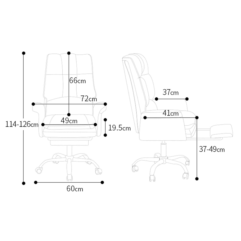 LIYIN kontorsstol justerbar PU-läder tjock kudde svängbar hög rygg ergonomisk dator skrivbordsstol med infällbar fotstöd BLÅ