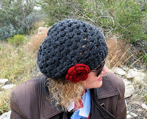 Hand Crocheted Slouchy Lace Charcoal Hat Ladies Beret with Red Rose Christmas Gift Made in USA Free Shipping