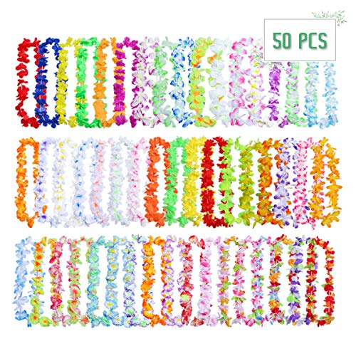 Hawaiian Leis, 50 Pcs Tropical Luau Flower Lei Theme Party Favors Hawaiian Leis Necklace Hawaii Silk Wreaths Holiday Wedding Beach Birthday Decorations