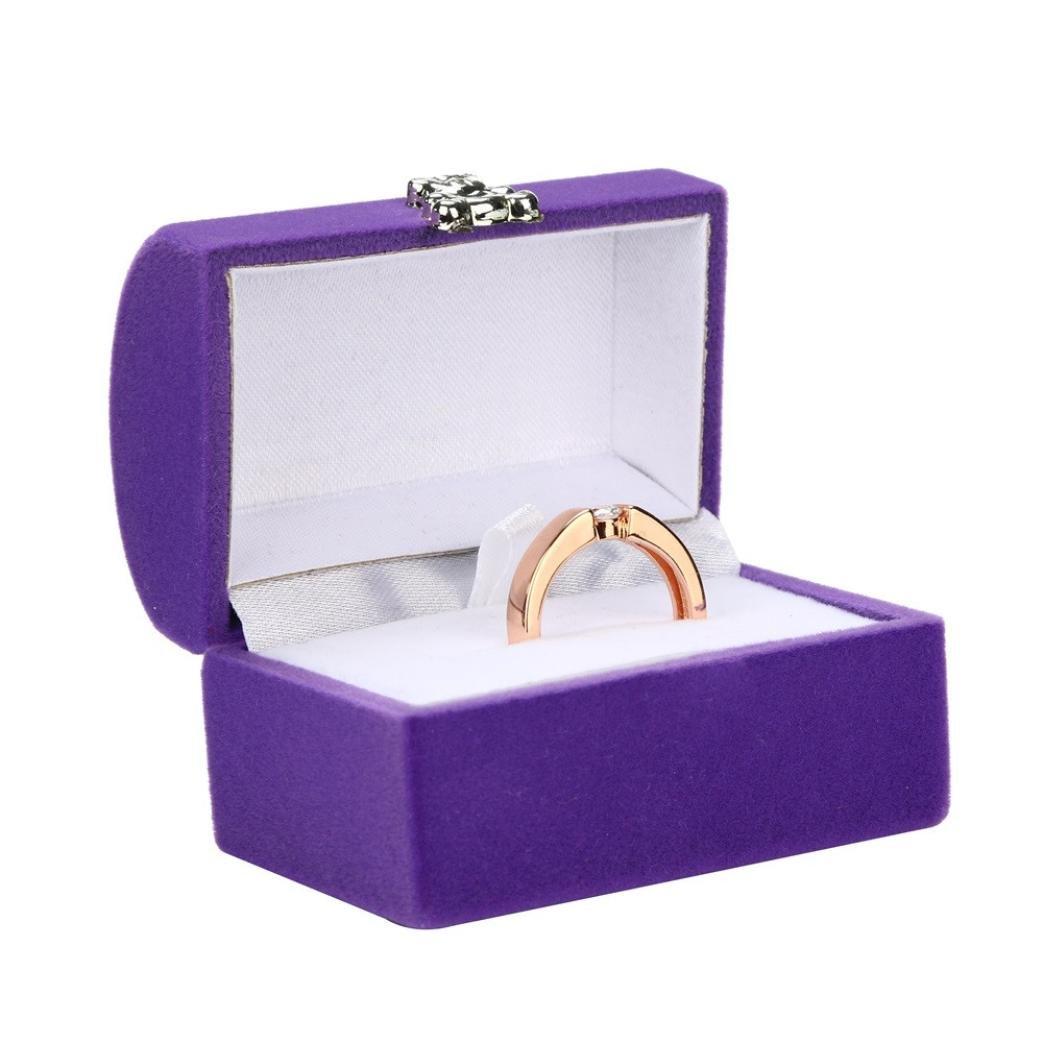 TAOtTAO - Caja de regalo cuadrada de lujo, para mujeres, pendientes, joyas, embalaje, exposición, viajes, cajas de novia portátiles, color morado 5.7cm (L) ...