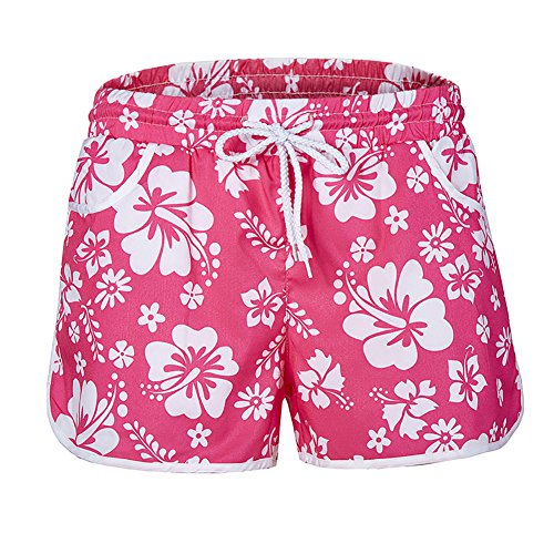 Women Quick Dry Boardshort Bathing Suits Swimming Trunks Tropical Volley Beach Shorts Floral Boardshort (M, Pink)