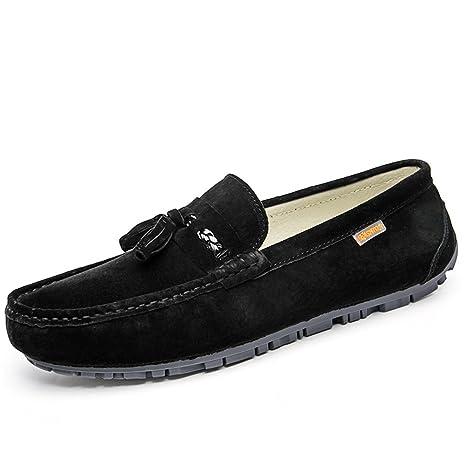 Jiuyue-shoes, Mocasines Informales para Hombre, de Ante británico, con borlas,