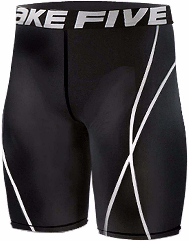 JustOneStyle New 022, Calzamaglia da Corsa, a Compressione, Strato Base, Leggings, Pantaloni Corti da Uomo Nero Medium