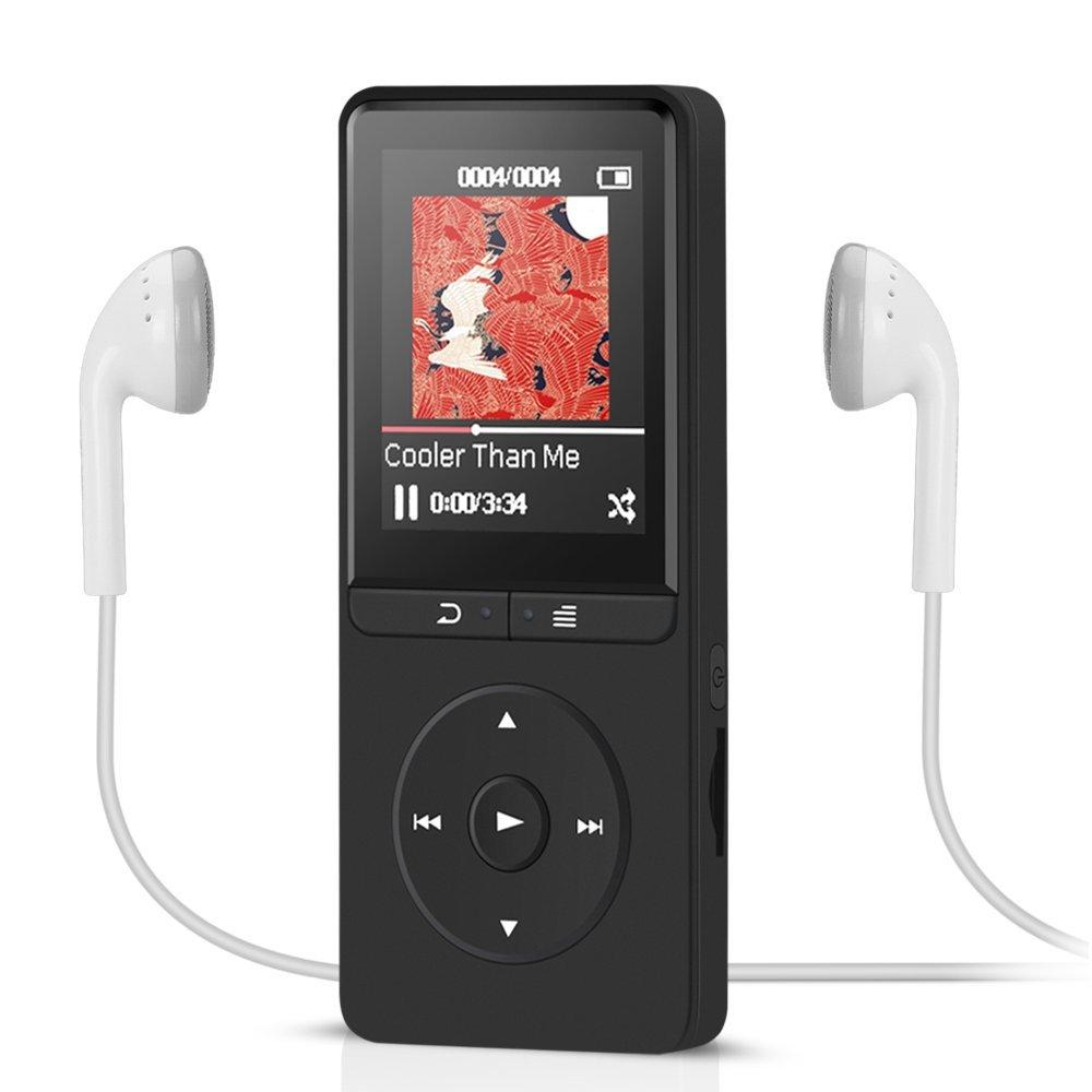 TALLA 8GB Negro. AGPTEK Reproductor MP3 8 GB, A20B Reproductor de Música sin pérdida de Sonido 70 horas de Autonomía con función Radio FM y Ranura para tarjeta Micro SD, color Negro