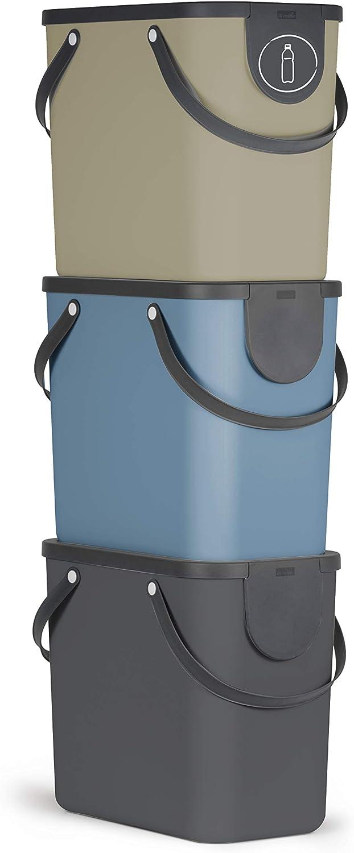 Cubo de Basura reciclaje (3 Cubos de 25 L, plástico), Multicolor