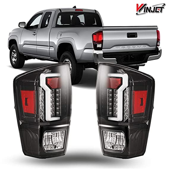 Amazon.com: Winjet WJ20-0466-16 Taillights Lamps Replacement for 2016-2019 Toyota Tacoma Black/Clear LED Tail Lights Glow Bar Running Brake: Automotive