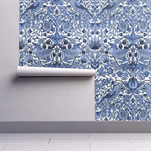 Peel-and-Stick Removable Wallpaper - William Morris Damask Classic Floral Bird Blue and White Cobalt by Peacoquettedesigns - 24in x 96in Woven Textured Peel-and-Stick Removable Wallpaper Roll