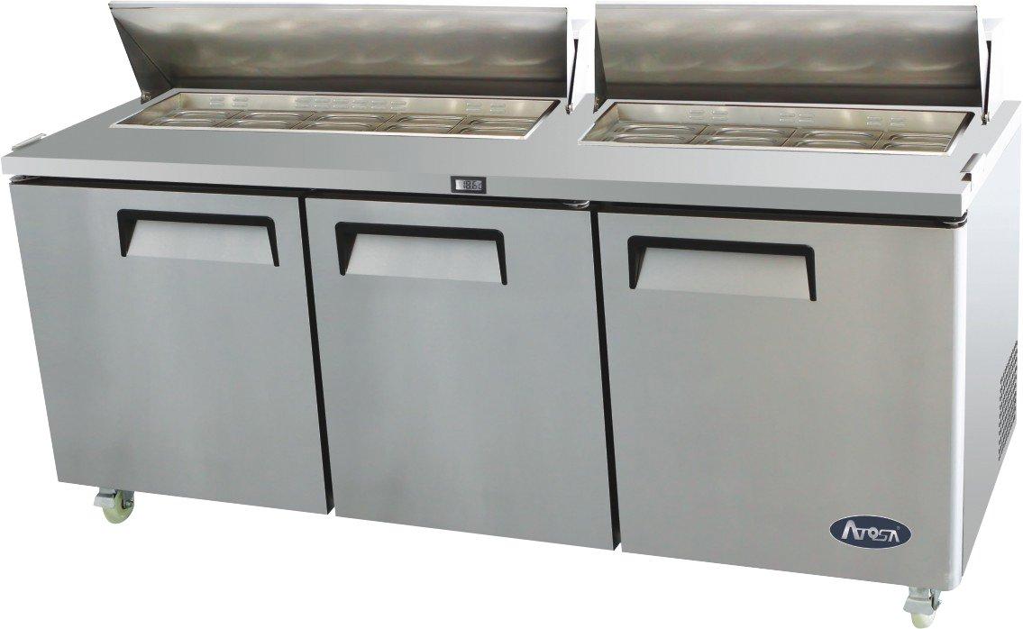 Atosa USA MSF8304 Stainless Steel Sandwich/Salad Prep Table 72-Inch Three Door Refrigerator