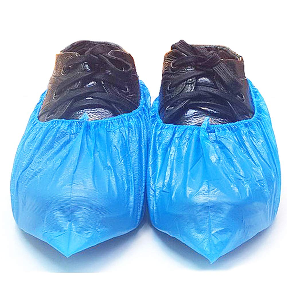 Artec360 Blue Disposable Overshoes Shoe Covers and Protectors, Extra Strong, Thick Anti-Slip Sole Liquid-Proof, CPE Materials (100)