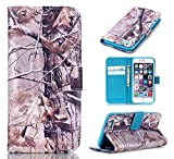 iPhone 6S Plus Case, iPhone 6 Plus Case, ArtMine Trees Camo Durable Premium PU Leather Flip Folio Book Style Wallet Protective Skin Pouch Phone Case with Credit/ID Card Slot for Apple iPhone 6S/6 Plus