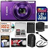 Canon PowerShot Elph 360 HS Wi-Fi Digital Camera (Purple) with 32GB Card + Case + Battery + Selfie Stick + Sling Strap + Kit