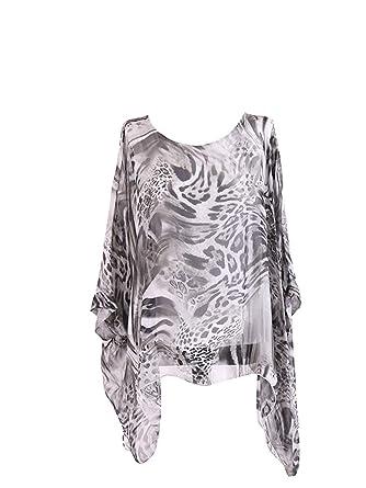 83f55ff3821 New Ladies Italian Animal Print Silk Tunic Top Women Lagenlook Top Plus  Sizes (White): Amazon.co.uk: Clothing