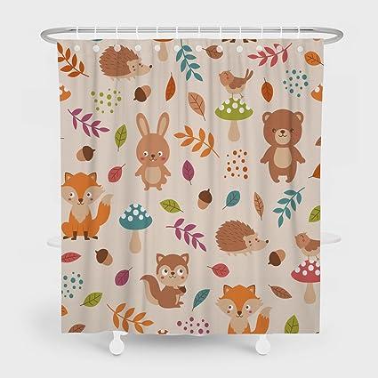 Shower CurtainCute Woodland Animals Pattern Bathroom Waterproof Fabric 78 Inches Long Home Bath Decorative