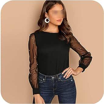 Blusa Negra con Perlas y Mangas de Malla para Mujer - Negro - Large: Amazon.es: Ropa y accesorios