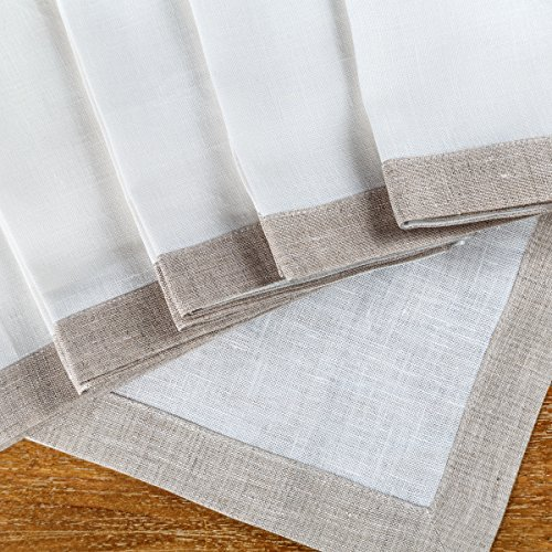 "Linen Dinner Napkins – Set of 6 100% Pure European Flax White & Natural Square Kitchen Napkins – Size 18"" x 18"" – Cloth Dinner Napkins for Restaurants, Birthdays, Wedding (Royal Hotel Resort)"