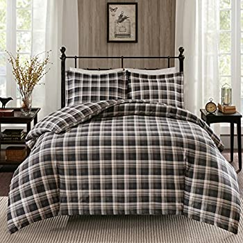 Amazon Com 3 Piece Brown Black Grey Madras Plaid