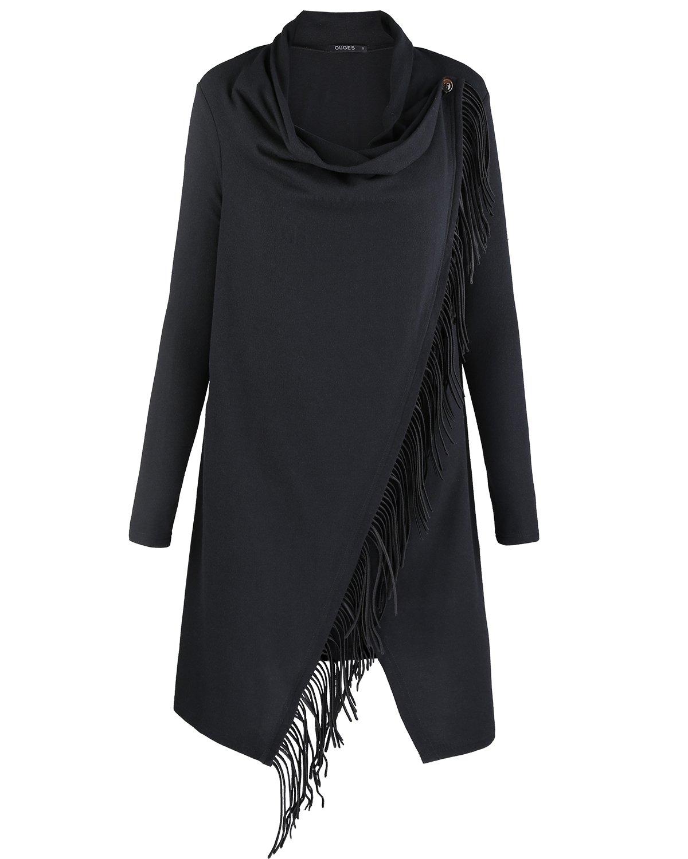 OUGES Women's Long Sleeve Tassel Hem Knitted Sweater Coat Outwear(Black,S)