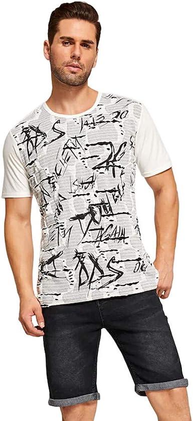 Camisetas De Algodón De Hombre Manga Corta Color Sólido Camiseta ...