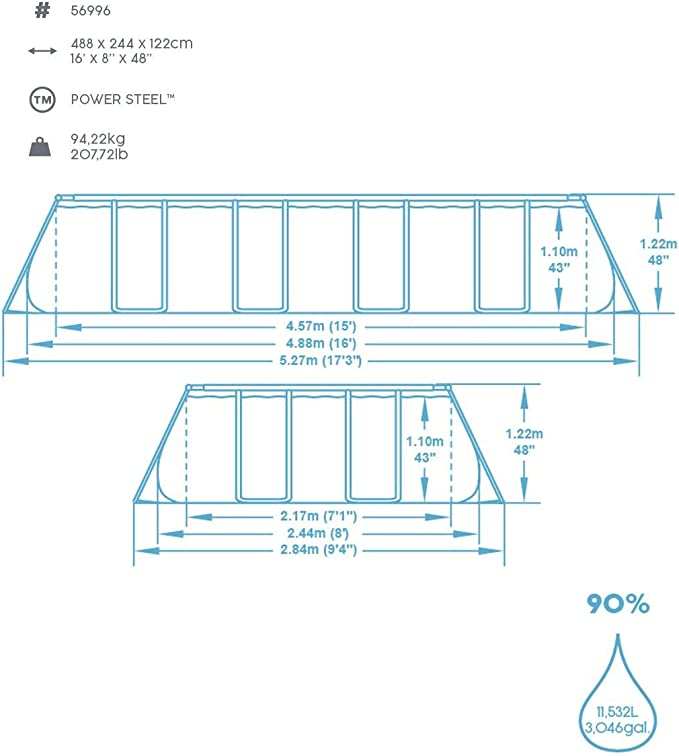 Bestway Power Steel Framepool Komplett-Set, eckig, mit Filterpumpe ...