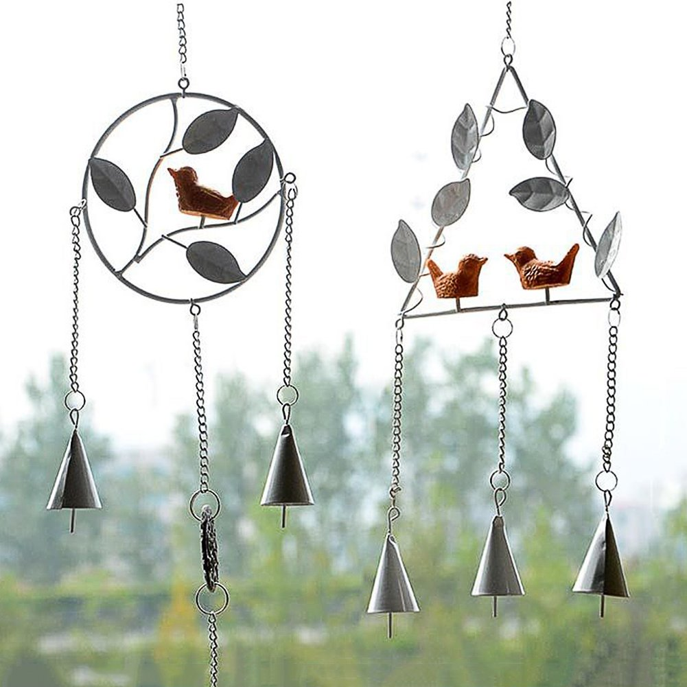 Bird Wind Chimes,Cute Japanese Handmade Triangle Metal Wind Bell Triangle with Leaf and Two Birds Home Party Garden Hanging Ornament Decor US-PopTrading