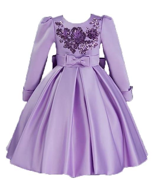Amazon.com: ZaH Big Little Girl Party Dress 3D Flower Girl Lace ...