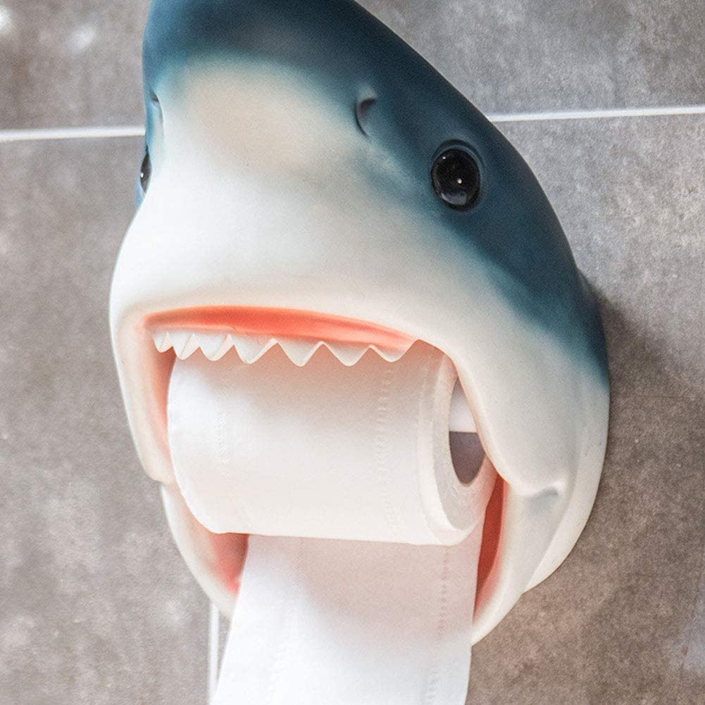 blue style for Home Use ACHICOO Creative Personality Tissue Box Bathroom Paper Towel Rack Shark Household Items Roll Paper Holder Bathroom Waterproof Tissue Box Dolphin