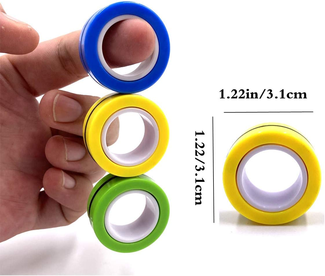 Anxiety Finger Magnetic Ring,Magnetic Fingertip Toys,Stress Relief Magic Bracelet Ring Decompression Unzip Toy for Adults ADHD JACHAM Magnetic Ring Fidget Spinner Toy Mix Color 2