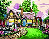 YEESAM ART New Release Paint by Number Kits for Adults Kids - Fairy Tale Cottage 16x20 inch Linen Canvas without Wooden Frame
