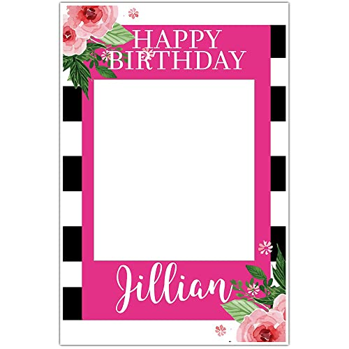 Amazon.com: Black and White Striped Floral Selfie Frame Social Media ...