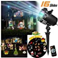 Doingart Led Halloween Light Projector - 2017 Newest Version Bright Led Landscape Spotlight with 16 Slides Dynamic Lighting Landscape Led Projector Light Show for Christmas, Party, Holiday Decoration
