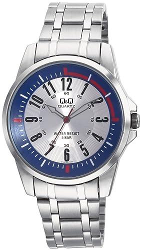 Q&Q Barcelona Q708J224Y - Reloj analógico de Cuarzo para Hombre, Correa de Acero Inoxidable Color