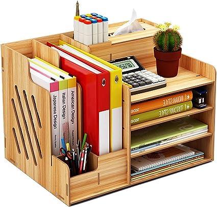 Organizador de escritorio de madera, de gran capacidad, caja de almacenamiento, estante para archivos, papeles o documentos, color Madera de cerezo.