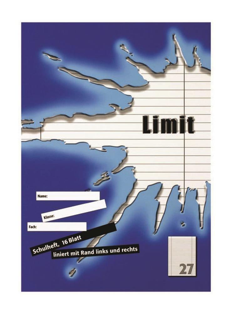 kariert mit Rand 16 Blatt orange LIMIT Schulheft 10er Pack A4 Lineatur 26