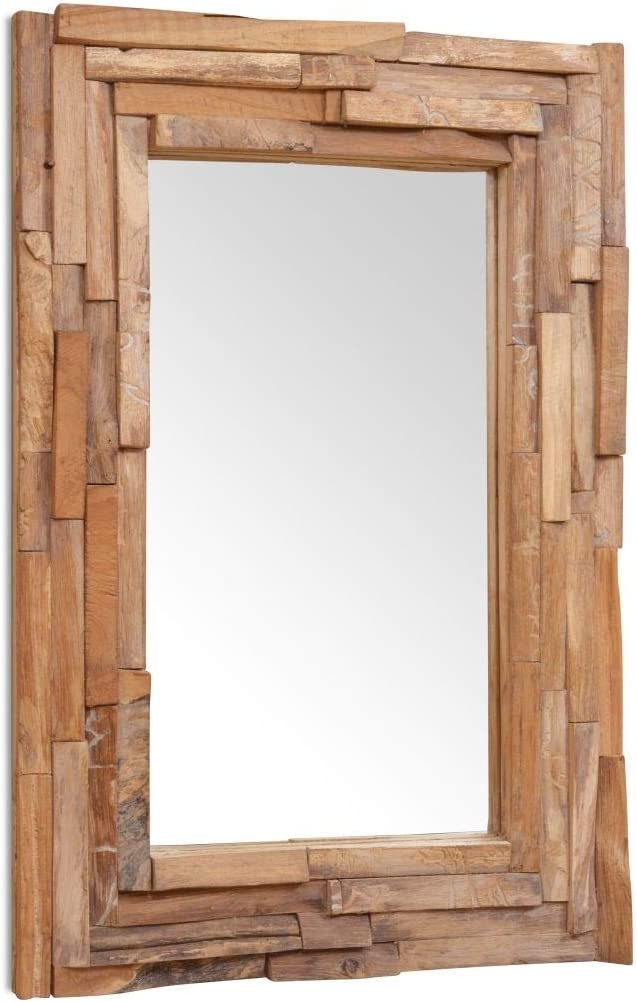 Miroir Murale Miroir Salle Bain Tidyard Miroir D/écoratif Vintage Miroir D/écoratif Rond en Teck 60 cm