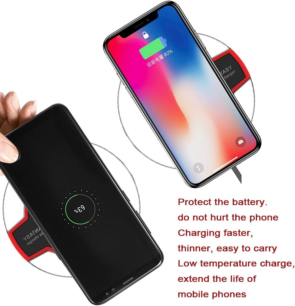 Fast-Charging Galaxy S10//S9//S9+//S8//S8+//Note 9//Note 8 Compatible Phone XR//Xs Max//XS//X//8//8 Plus Qi-Certified No AC Adapter -Red-Black 5 W Fast Wireless Charging Stand Wireless Charger