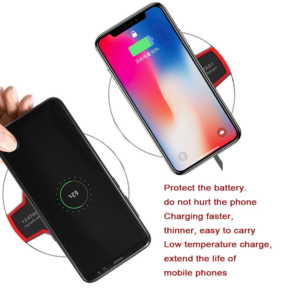 Wireless Charger, Wewdigi Wireless Charging Ultra Slim Wireless Charger for iPhone X / 8 / 8 Plus, Sleep-friendly with Anti-Slip Rubber NO AC Adapter -- Black by Wewdigi (Image #2)