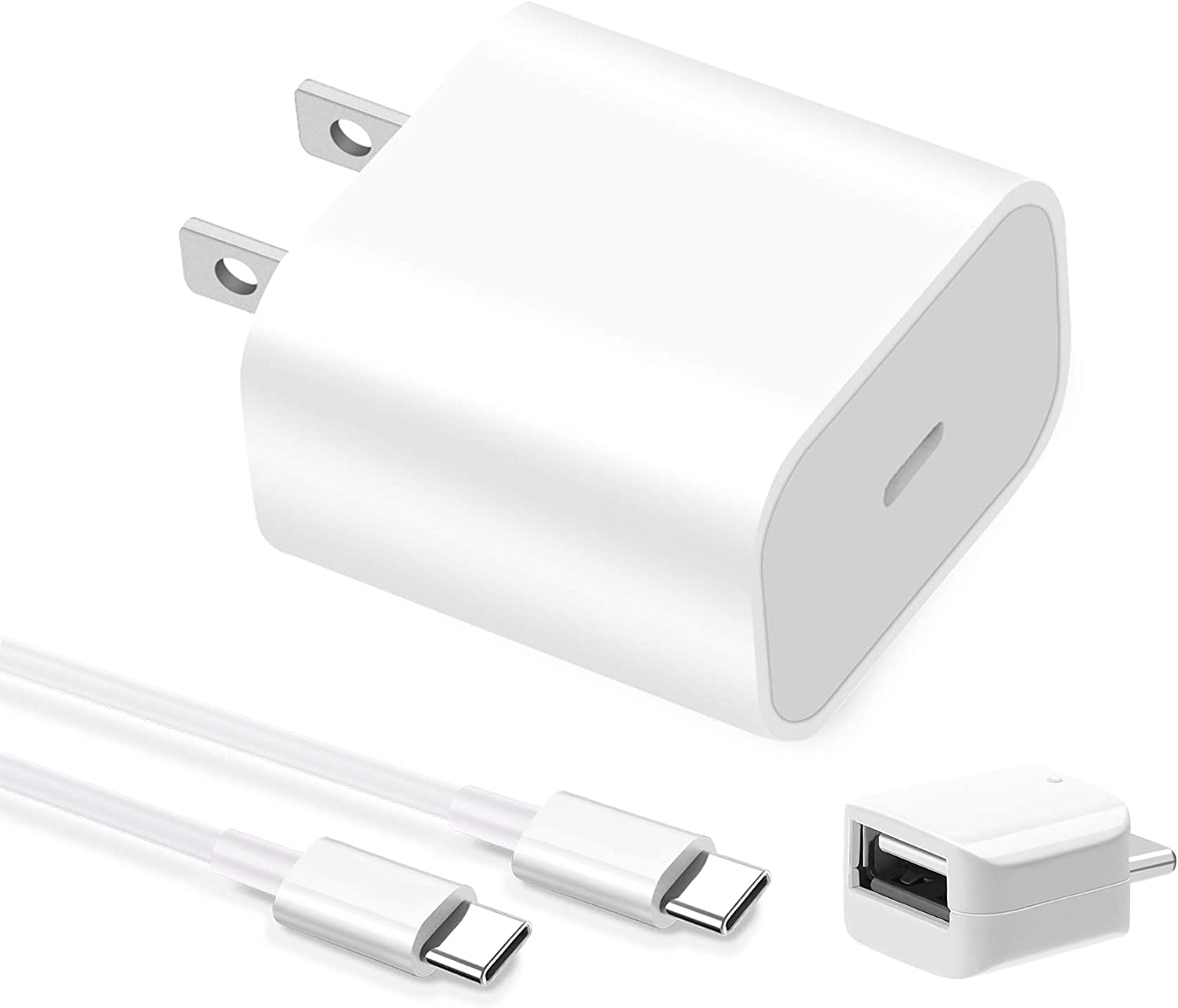 20W USB-C Power Adapter Fast Charging Wall Charger Block with 6.6ft USB C to C Cable for iPad Pro 12.9, Pro 11 inch 2020/2018, New Air 4 10.5, Samsung Galaxy S20 S10 S9 S8 Pixel 2 3 4 XL 2XL 3XL 4XL