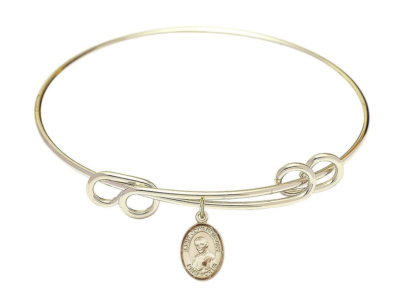 Bonyak Jewelry Round Double Loop Bangle Bracelet w//St John Neumann in Gold-Filled