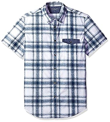 Calvin Klein Jeans Men's Short Sleeve Printed Plaid Button Down Shirt