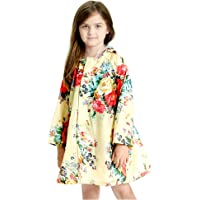 Children's Peony Print Hooded Waterproof Raincoat