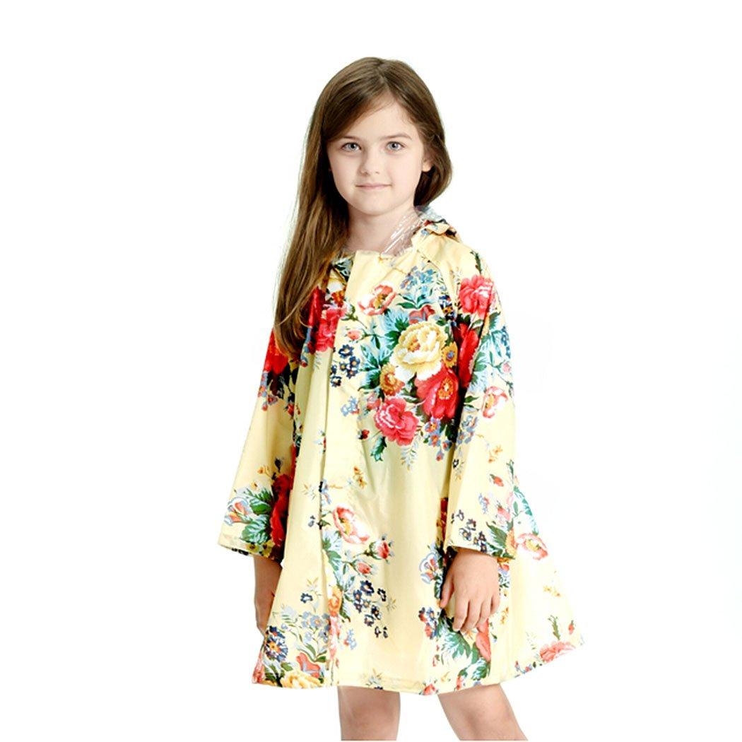 Children 's Peony Print Hooded Waterproof Raincoat,Apricot,4