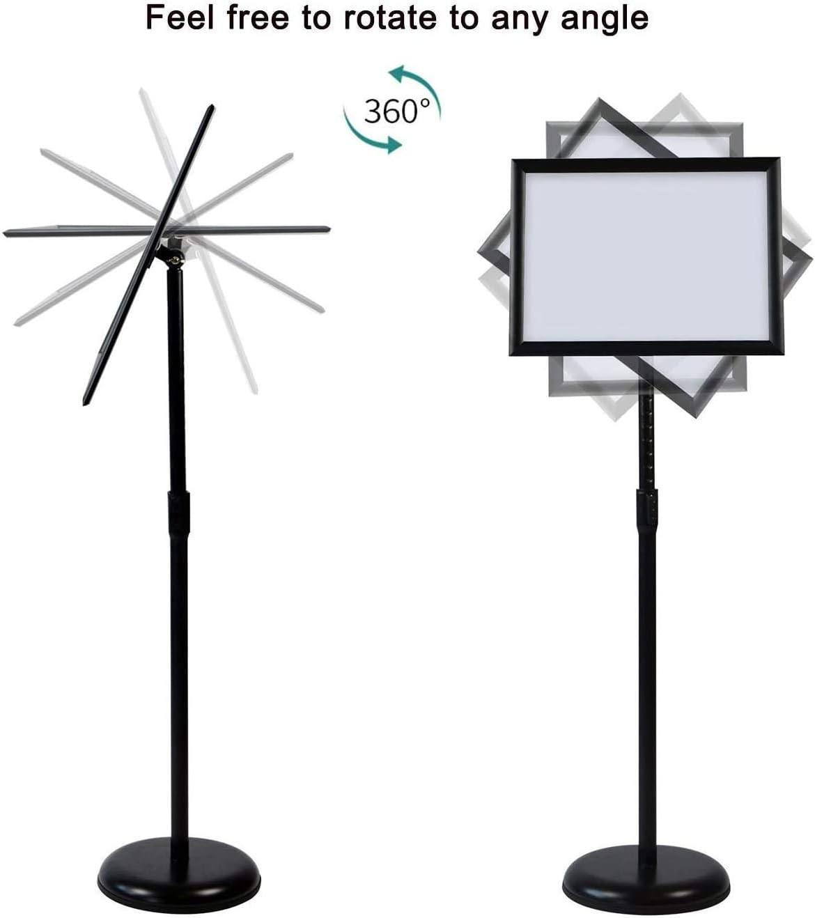 Business-Aktivit/äten Winkel /& H/öhenverstellbar Schwarz Hochzeit Bodenschildhalter A3 Plakatst/änder mit Schnapprahmen Standschildhalter f/ür Werbung Teleskop